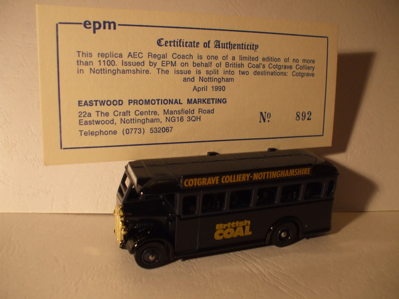 EPM AEC Regal Coach Cotgrave Colliery Dest Nottingham No 892 of 1100.JPG