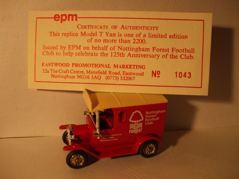 EPM Nottm Forest FC 125th anniversary Model T No 1043 of 2200.JPG