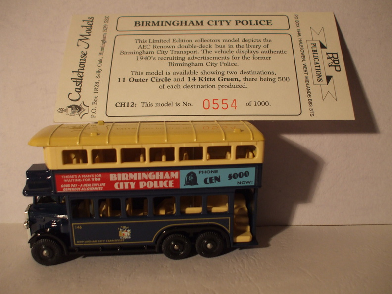 CH 12 Birmingham City Police bus dest 11 Outer Circle No 554 of 1000.JPG