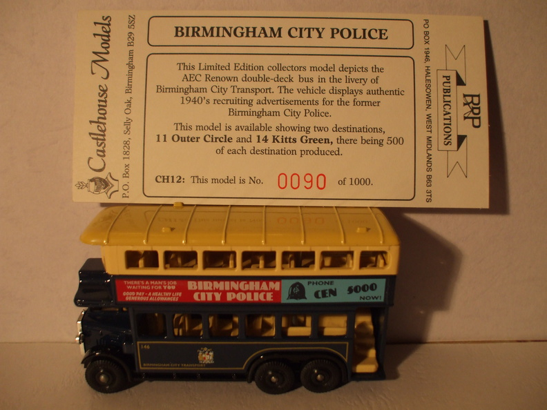 CH 12 Birmingham City Police bus dest 14 Kitts Green No 90 of 1000.JPG