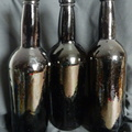 Black glass Victorian wine bottles