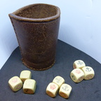 Crown and Anchor Dice sets and old leather dice shaker