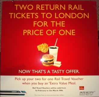 Return rail tickets to London 1996 DT