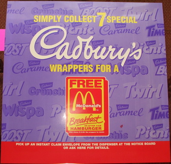 Cadburys wrappers free McDonalds breakfast 1996