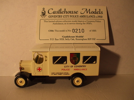 CH 6 Coventry City Police Ambulance c1930 No 210 of 1000