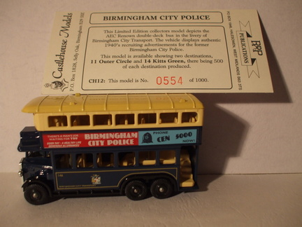 CH 12 Birmingham City Police bus dest 11 Outer Circle No 554 of 1000