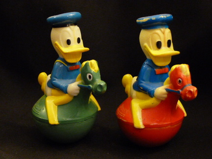 Roly Poly Donald Duck on a horse x 2 front view