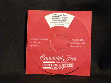 Saccone & Speed Wine Game novelty give-away front