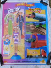 Window poster for one of the joint Barbie and Hot Wheels promotions